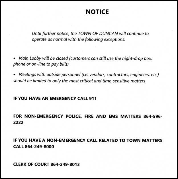 Town of Duncan notice